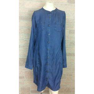 prAna Blue Denim Jean Shirt Dress Buttons Large